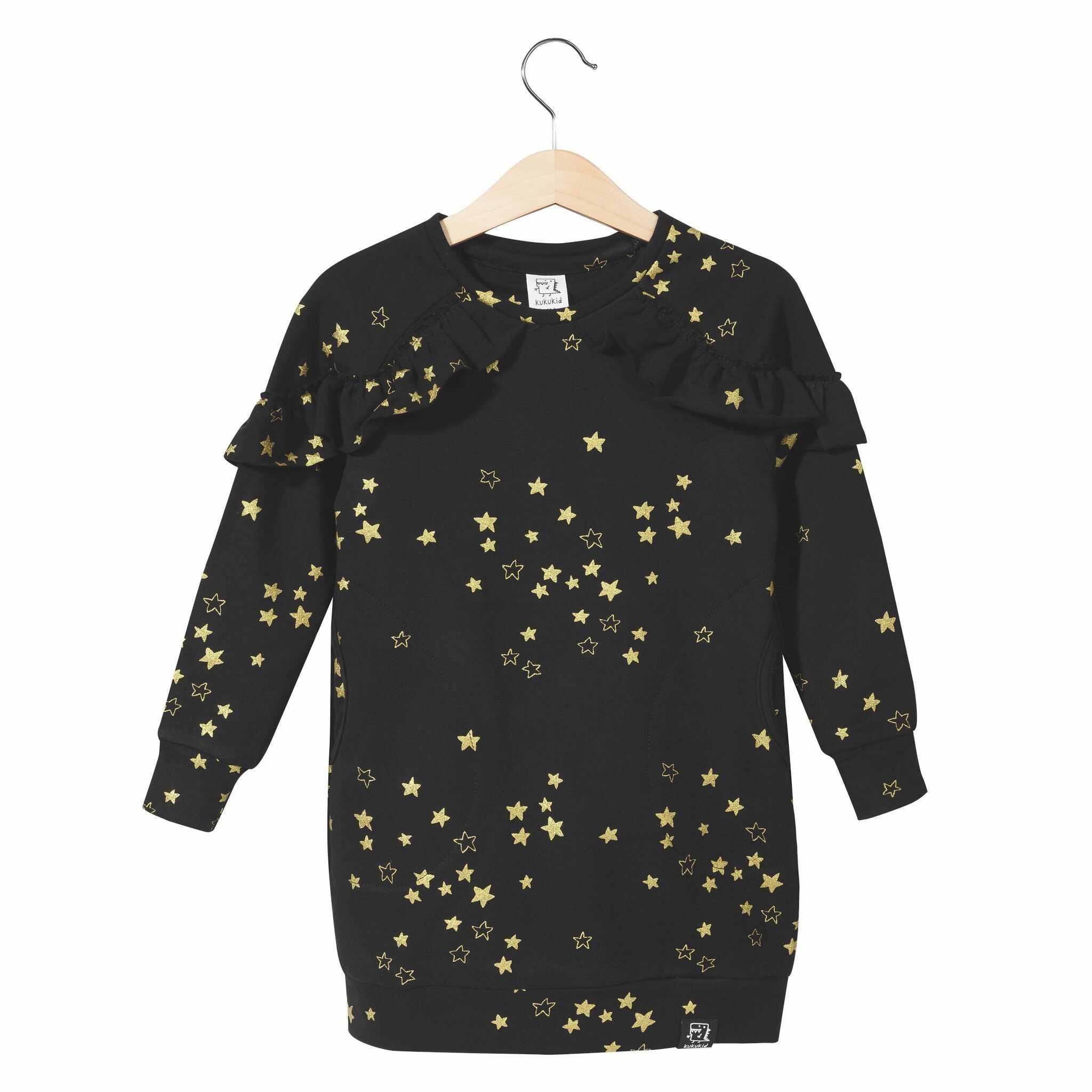kleid-sweatshirt-schwarz-goldene-sterne-kukukid-vorne