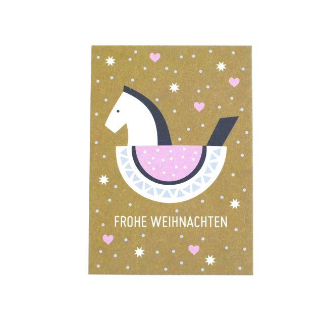 Frohe Weihnachten Pferd.Postkarte Frohe Weihnachten Pferd Braun Avaundyves Herr Und Frau